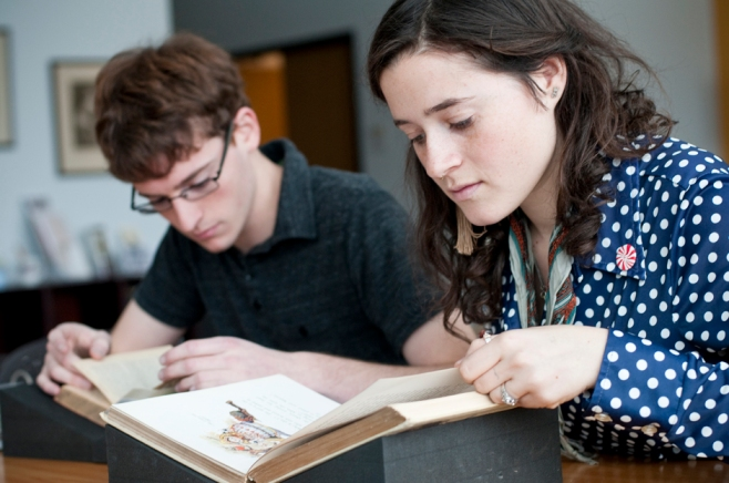Alongside research, we also sponsor fellowships and scholarships for research on our collections. Pictured are two previous Peirce Center Fellows.