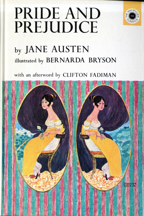 An illustrated version of Pride and Prejudice, printed in 1962 and illustrated by Bernarda Bryson.